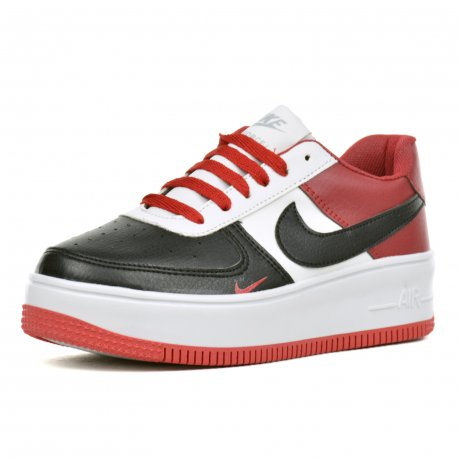 Tenis Unisex Air Force I Negro Rojo